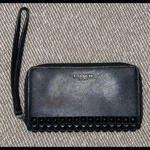 Small Black studded coach wristlet